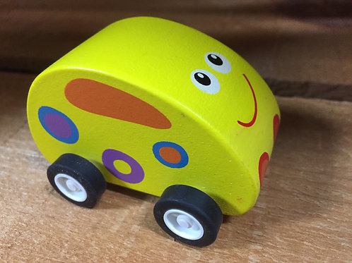 Yellow Wooden Pullback Racing Toy Car