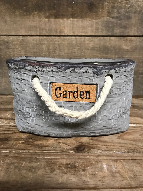 """6.5"""" x 4"""" x 3.5"""" """"Garden"""" Concrete Planter with Rope Handles and Drainage Hole"""