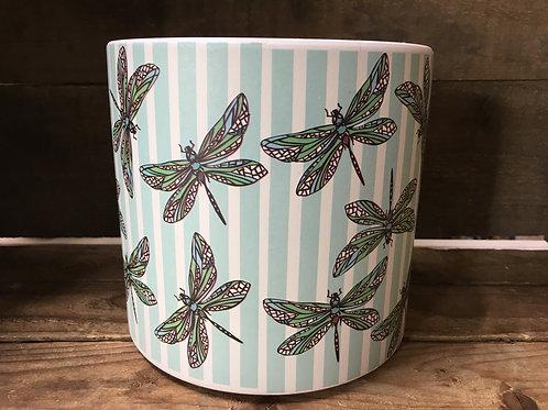 "6.25"" x 6.25"" x 6"" Striped Dragonfly Clay Planter by Abbott"