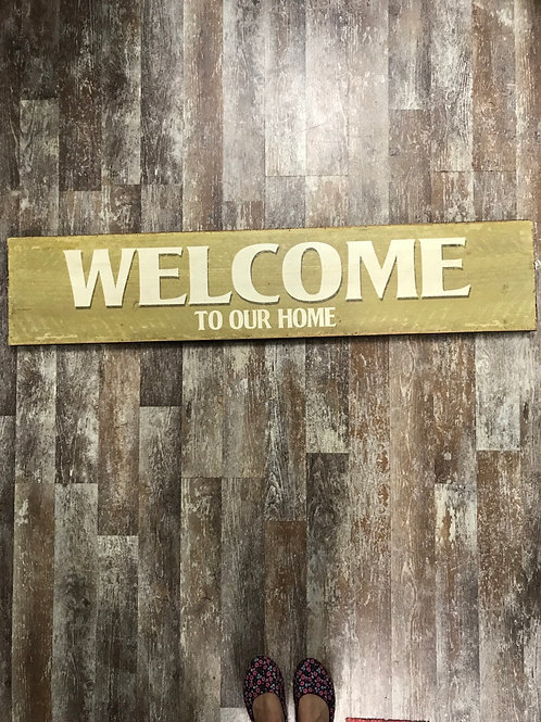 """""""Welcome to Our Home"""" 47.25"""" x 10"""" Hanging Wood Sign by Stargazer Originals"""