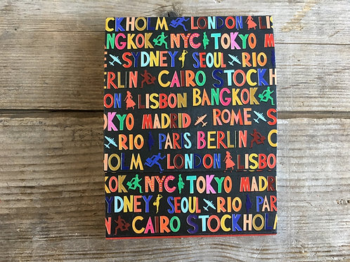 """World Cities 4"""" x 3"""" Notepad by Molly and Rex"""