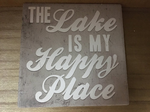 """""""The Lake is My Happy Place"""" Slate Coaster"""