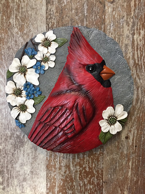 """8.25"""" x 8.25"""" Cardinal Bird Step Stone by Carson Home Accents"""