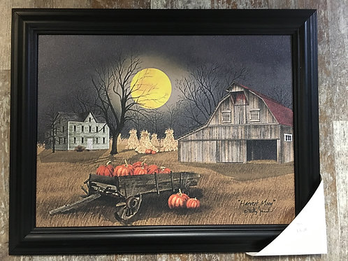 "Harvest Pumpkins Under Full Moon 19"" x 15.25"" Wood Framed Print"