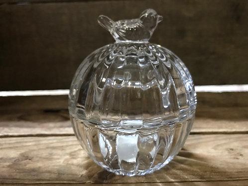 "4"" x 3"" x 3"" Clear Glass Optic Jar with Bird on Lid by Abbott"