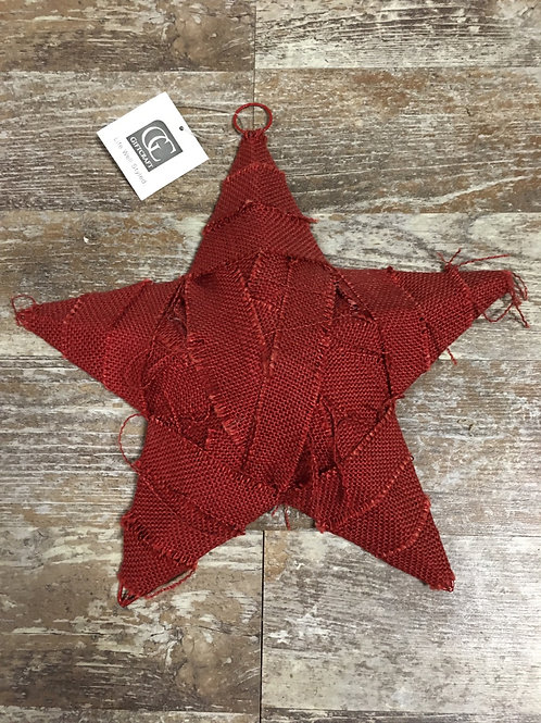 """12"""" x 12"""" Red Metal and Burlap Hanging Star by GiftCraft"""