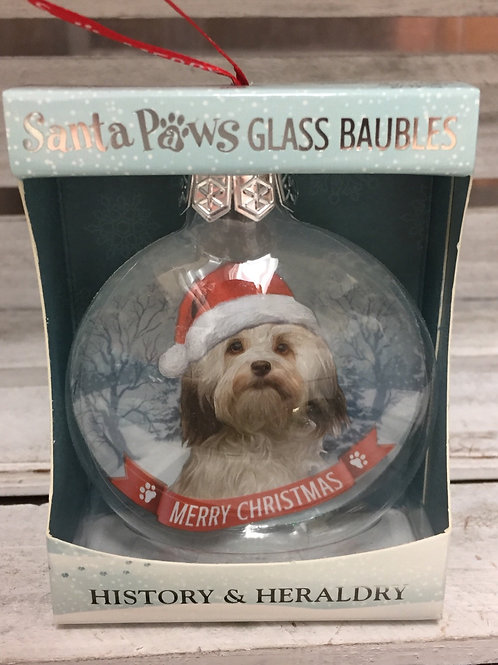 Santa Paws Glass Baubles - Havanese
