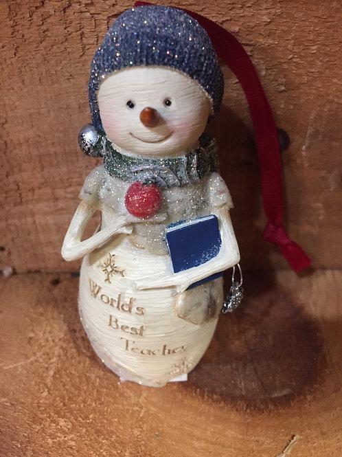 Worlds Best Teacher Snowman Christmas Tree Ornament