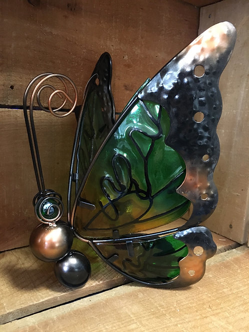 """Ylow and Green 10"""" x 7"""" x 6"""" Metal and Glass Solar Butterfly Table Sitter"""