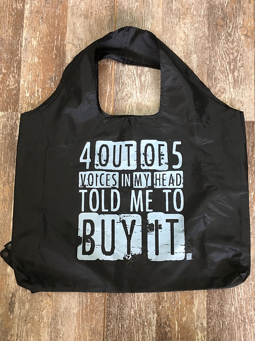 """""""4 Out of 5 Voices.."""" Folding Shopping Tote Bag by Folioware Designs"""