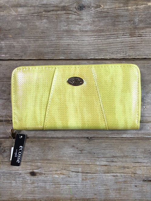 """Yellow Irridescent 7.5"""" x 4"""" x 1.25"""" Wallet by Ecosse"""