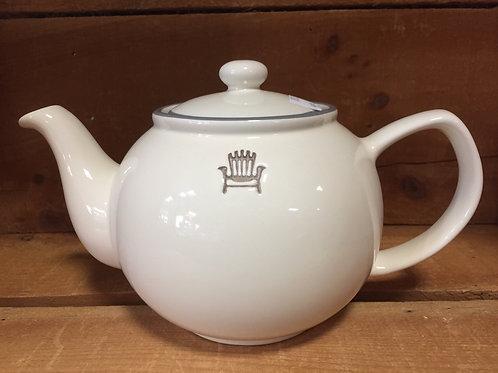 "9.5"" x 6"" x 5.5"" Ivory Teapot with Muskoka Chair Decal by Abbott"