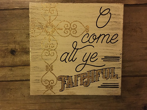 "6"" x 6"" Wooden Block Sign"