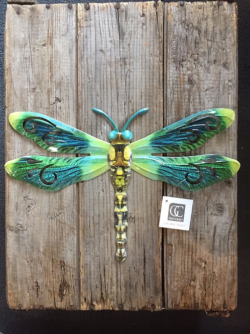 """15"""" x 10"""" Metal Dragonfly Garden Wall Art by GiftCraft"""