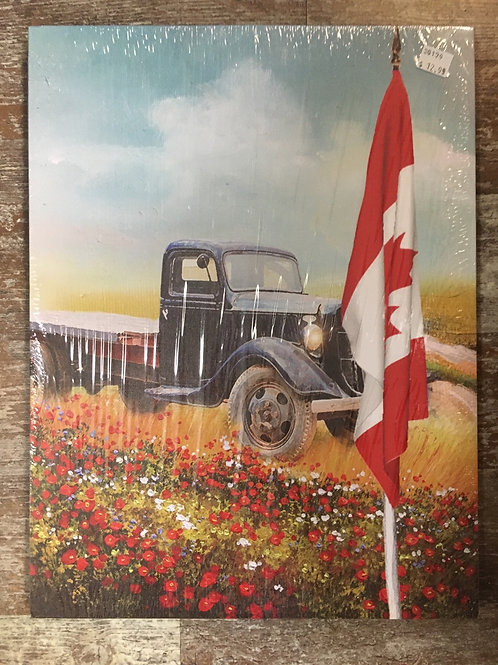 "15.75"" x 12"" Black Truck Rural Canada Canvas Print"