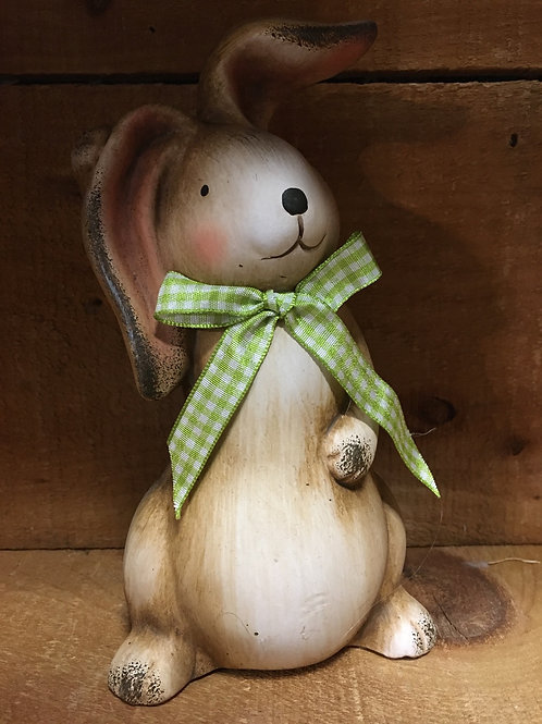 """7.5"""" x 4"""" x 4"""" Brown Bunny Rabbit with Green and White Check Bow from Koppers"""