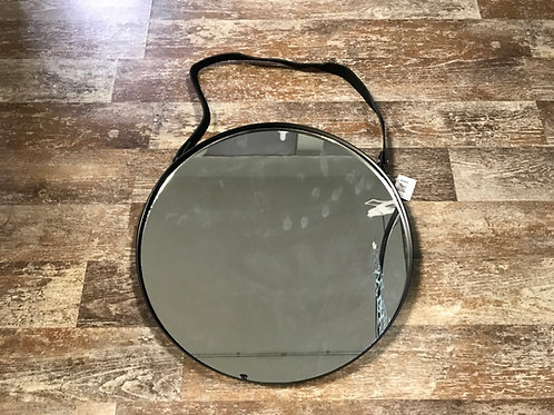 """15.5"""" x 15.5"""" Hanging Metal, Glass, and Pleather Mirror by Koppers Imports"""