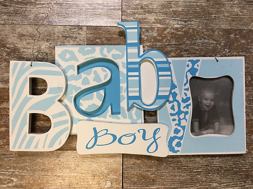 """Baby Boy Picture Frame - Photo 3"""" x 4"""" - Frame 13.75"""" x 8"""""""
