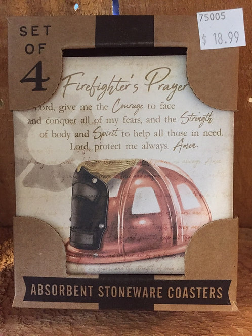 """A Firefighter's Prayer"" Set of 4 Absorbent Stone Coasters"