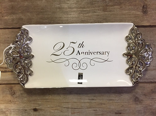 "12"" x 5.25"" ""25th Anniversary"" Ceramic Platter by Verdici"