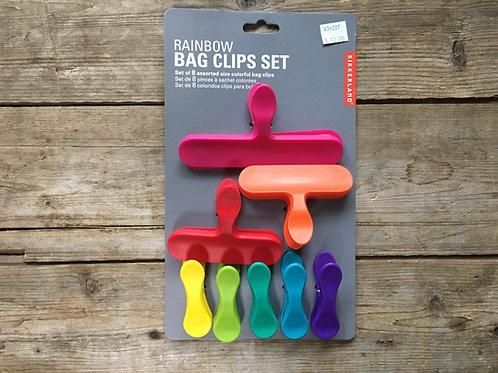 Plastic Rainbow Bag Clip Set by Kikkerland