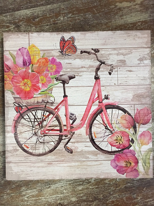 "Bicycle Plaque - Pink - 16"" x 16"""