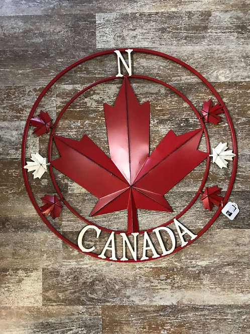 """22"""" x 22"""" Metal Rustic Canada Maple Leaf Compass Wreath by Koppers Importss"""