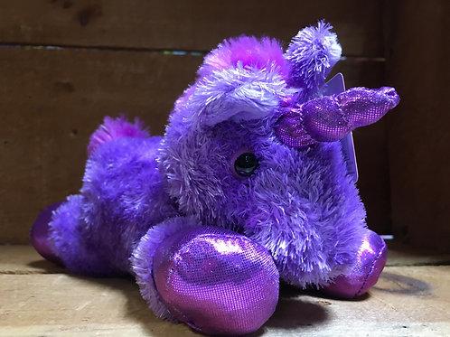 "7"" Bright Purple Unicorn Aurora Brand Plush Stuffed Animal"