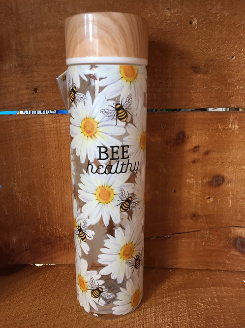"""""""Bee Healthy"""" Glass Water Bottle with Plastic Lid"""