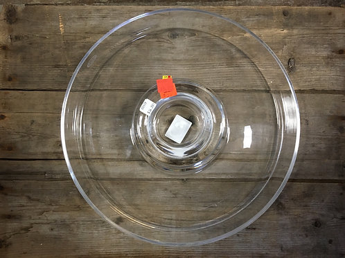 """11.75"""" x 11.75"""" x 2.5"""" Chip or Vegetables and Dip Clear Glass Plate by Abbott"""
