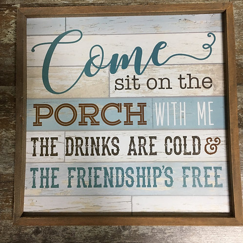 """""""Come Sit on the Porch..."""" Hanging 18"""" x 18"""" Wood Wall Sign by GiftCraft"""