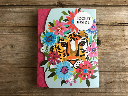 """Tiger in Flowers 4"""" x 3"""" Notepad by Molly and Rex"""