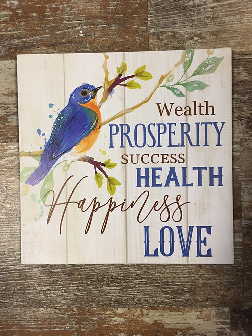 """""""Wealth, Prosperity, Success..."""" Blue Bird 9.5"""" x 9.5"""" Wood Sign by GiftCraft"""