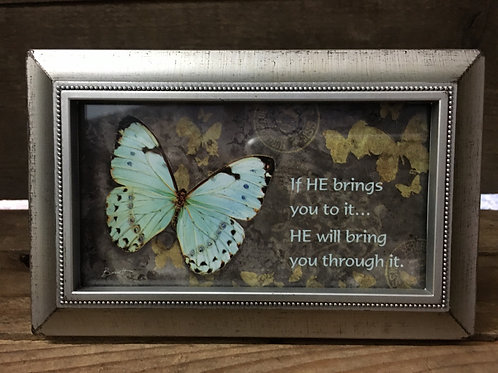 "6"" x 3.75"" Antiqued Silver Plastic Frame with Sentiment by Carson Home Accents"