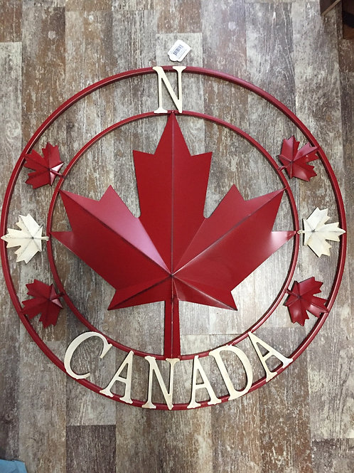 """28"""" Metal Rustic Canada Maple Leaf Compass Wreath by Koppers Importss"""