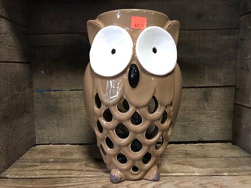 "10.5"" x 6.5"" x 5.5"" Brown Ceramic Owl Votive Candle Holder"