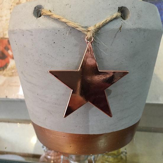 Concrete Planter with Copper Star