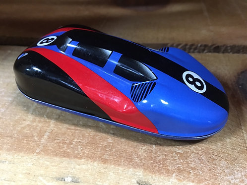 Black and Red Striped Metal Push Along Race Car