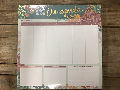 """""""What is On the Agenda"""" Succulent Weekly Agenda Note Pad by Molly and Rex"""