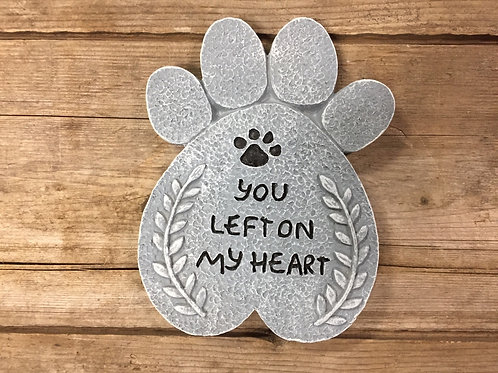 """""""You Left on My Heart"""" Pawprint 5"""" x 4"""" Memorial Stone by SDS Distributors"""