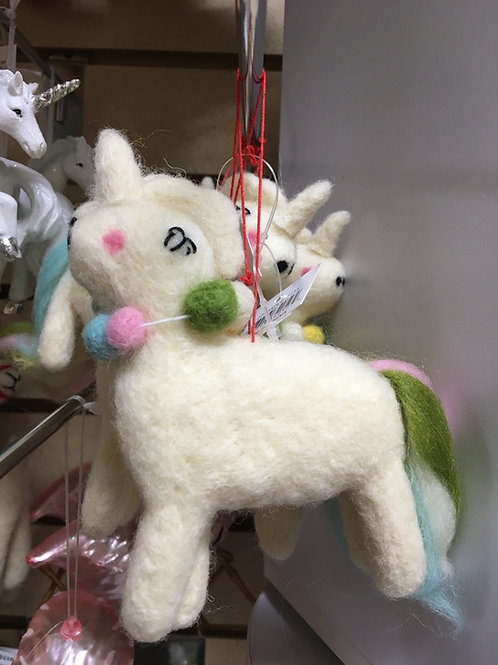 Unicorn Felt Christmas Tree Ornament