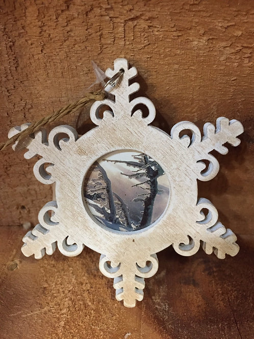 Wooden Snowflake Christmas Tree Ornament
