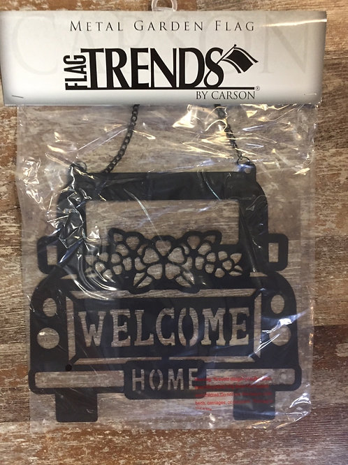 """""""Welcome Home"""" Truck 12"""" x 11"""" Metal Garden Flag Trends Flag by Carson"""