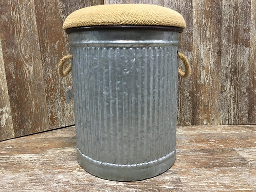 """14"""" x 11"""" x 11"""" Metal Seat with Remove-able Burlap Lid by Koppers Imports"""