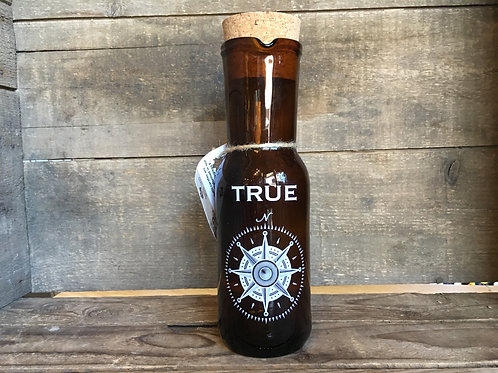 """""""True"""" North Compass Recycled Glass 8""""'x 2.5"""" x 2.5"""" Pitcher with Cork Lid"""