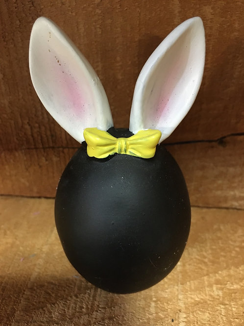 """Yellow 4"""" x 2"""" x 2"""" Black Egg with Bow and Bunny Ears by GiftCraft"""