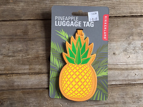 """Yellow Pineapple 5"""" x 2.5"""" Pleather Luggage Tag by Kikkerland"""