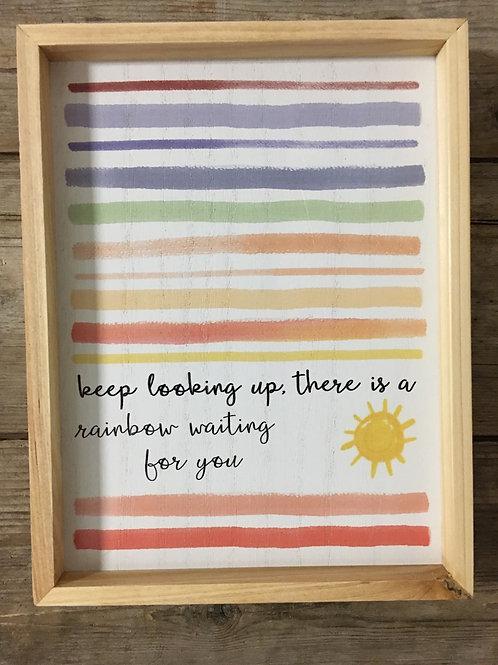 """Keep Looking Up"" - 9.5"" x 7.5"" x 2"" Wood Framed Sign"