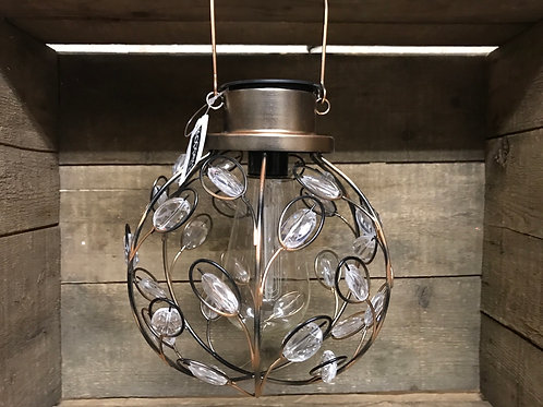 """11"""" x 7"""" x 7""""  Hanging Bejeweled Solar Powered Light by Koppers Imports"""