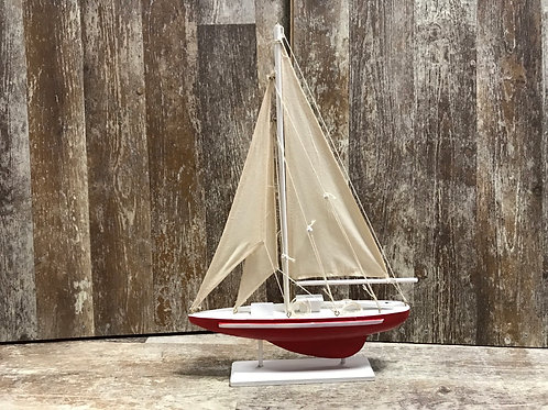 """13"""" x 9"""" Red Fabric and Wood Boat Statue by DEI"""